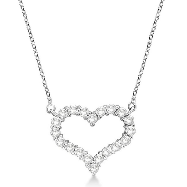 Open Heart Diamond Pendant Necklace 14k White Gold (1.50ct)