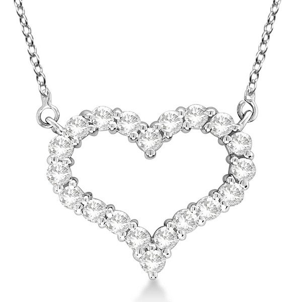 Open Heart Diamond Pendant Necklace 14k White Gold (3.10ct)