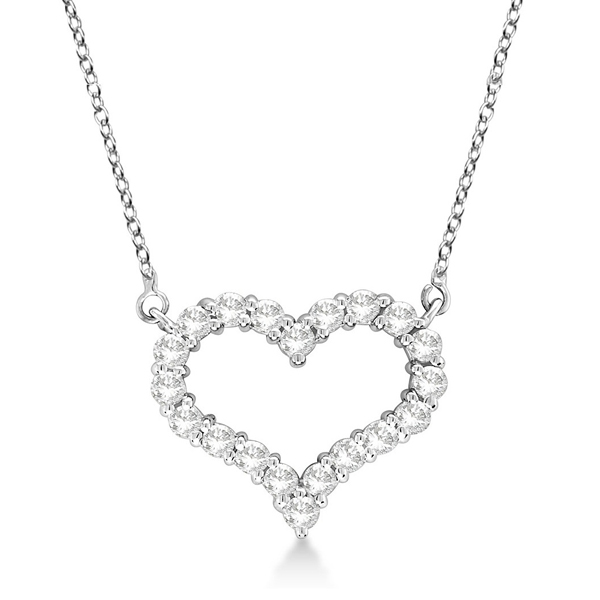 Open Heart Diamond Pendant Necklace 14k White Gold (3.10ct)
