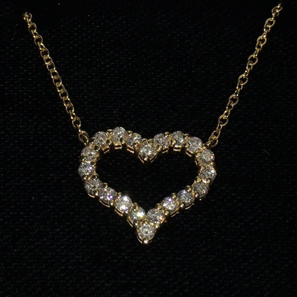 Open Heart Diamond Pendant Necklace 14k Yellow Gold (1.00ct)
