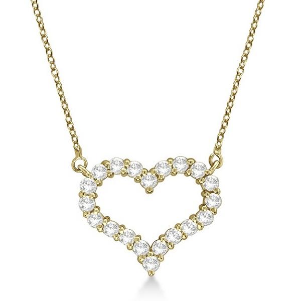 Open Heart Diamond Pendant Necklace 14k Yellow Gold (2.00ct)