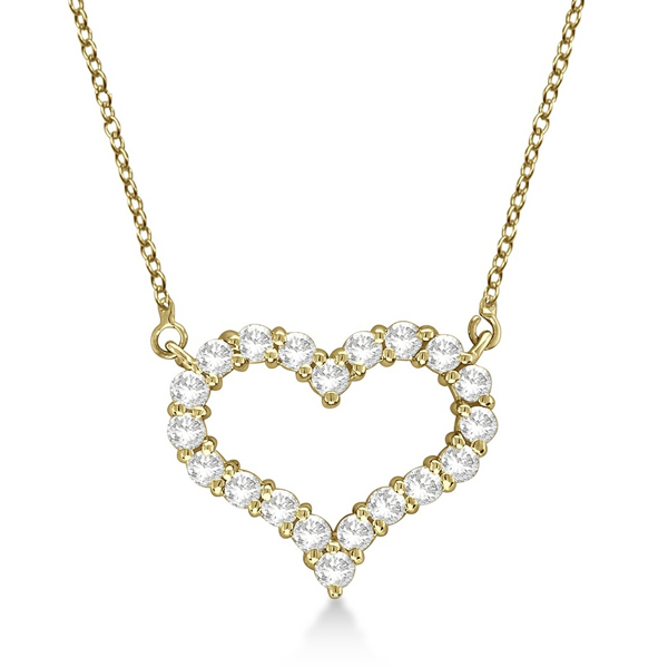 Open Heart Diamond Pendant Necklace 14k Yellow Gold (3.10ct)