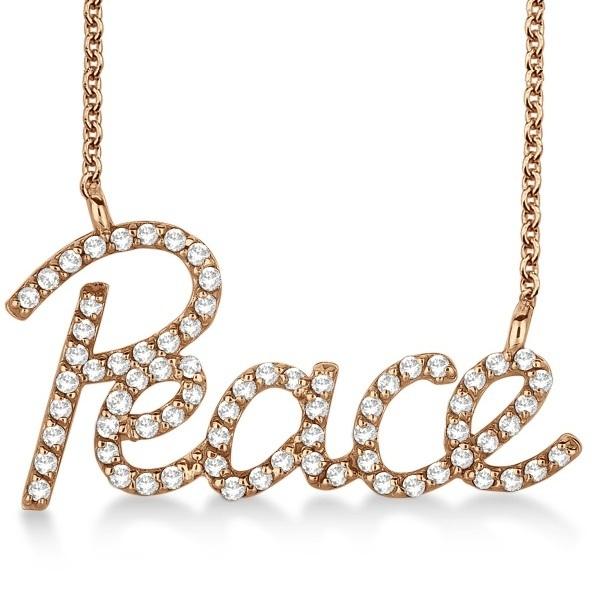 """""""Peace"""" Diamond Pendant Necklace 14k Rose Gold (0.50ct)"""