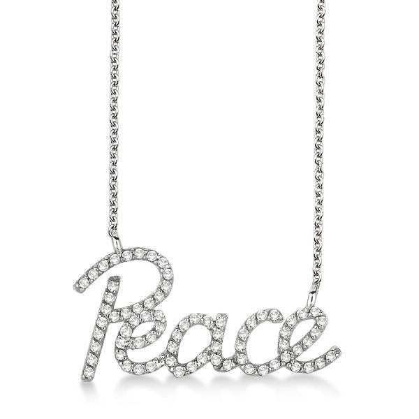"""Peace"" Diamond Pendant Necklace 14k White Gold (0.50ct)"