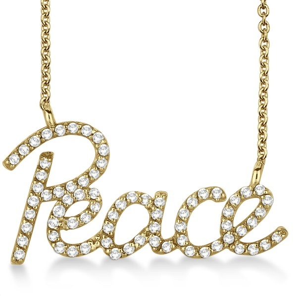 """Peace"" Diamond Pendant Necklace 14k Yellow Gold (0.50ct)"