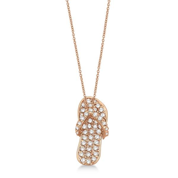 Diamond Flip Flop Pendant Necklace 14k Rose Gold (0.50ct)