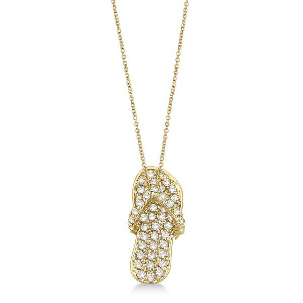 Diamond Flip Flop Pendant Necklace 14k Yellow Gold (0.50ct)