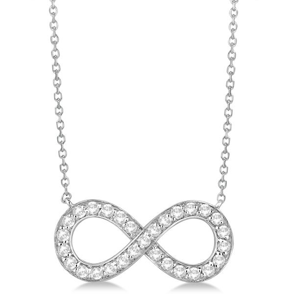 Pave Diamond Infinity Twist Pendant Necklace 14k White Gold (0.37ct)
