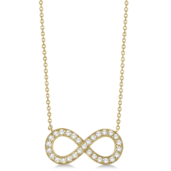 Pave Diamond Infinity Twist Pendant Necklace 14k Yellow Gold (0.37ct)