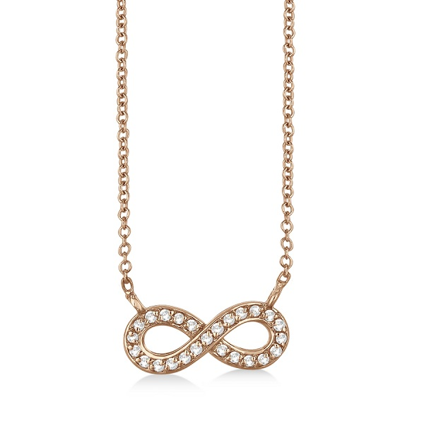 Pave-Set Diamond Infinity Pendant Necklace 14K Rose Gold (0.20ct)