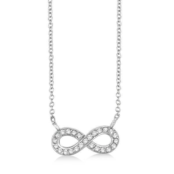 Pave-Set Diamond Infinity Pendant Necklace 14K White Gold (0.20ct)