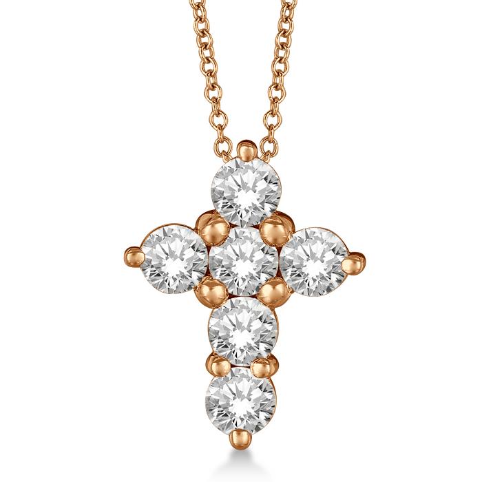 Prong Set Round Diamond Cross Pendant Necklace 14k Yellow Gold (1.30ct)