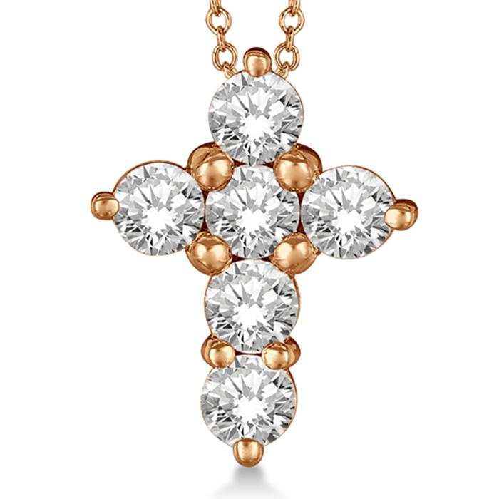 Prong Set Round Diamond Cross Pendant Necklace 14k Rose Gold (2.05ct)