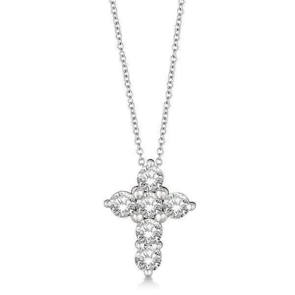Prong Set Round Diamond Cross Pendant Necklace 14k White Gold (1.05ct)