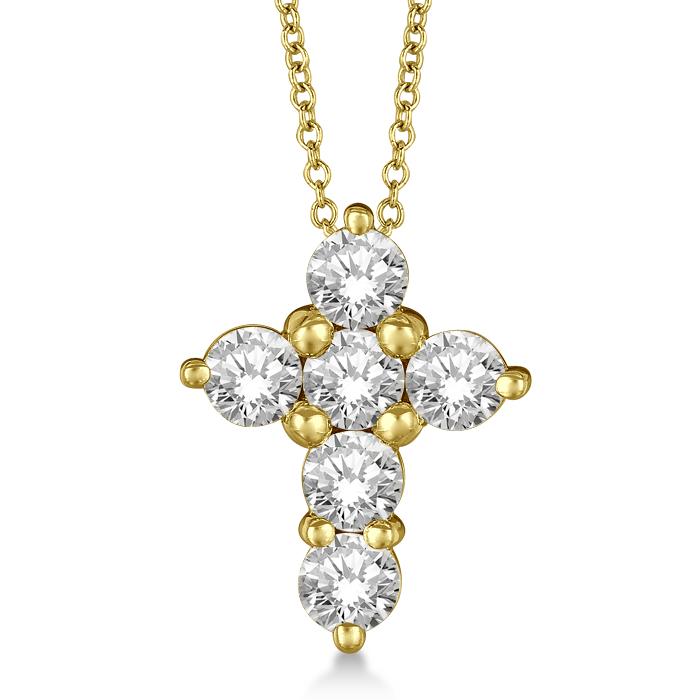 Prong Set Round Diamond Cross Pendant Necklace 14k Yellow Gold (1.05ct)