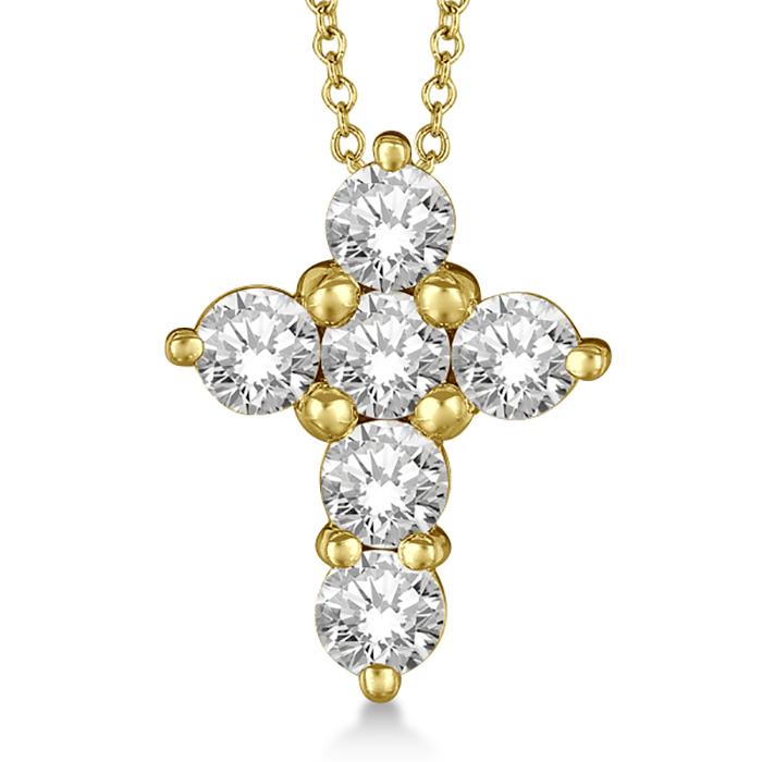 Prong Set Round Diamond Cross Pendant Necklace 14k Yellow Gold (1.50ct)