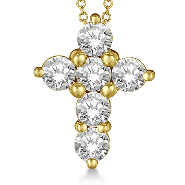 Prong Set Round Diamond Cross Pendant Necklace 14k Yellow Gold (2.05ct)
