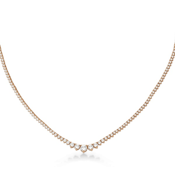 Graduated Eternity Diamond Tennis Necklace 18k Rose Gold (5.25ct)