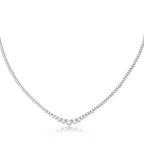 Graduated Eternity Diamond Tennis Necklace 18k White Gold (5.25ct)