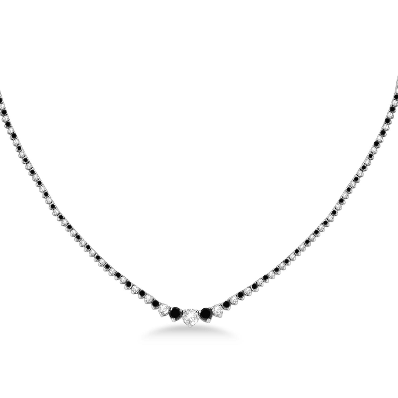 Graduated Eternity Black & White Diamond Tennis Necklace 14k White Gold (5.25ct)