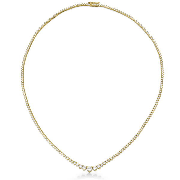 Graduated Eternity Diamond Tennis Necklace 18k Yellow Gold (5.25ct)
