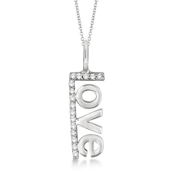 """""""Love"""" Spelled Out Diamond Pendant Necklace 14k White Gold (0.10ct)"""