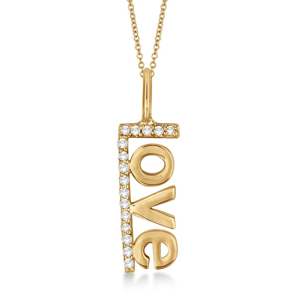 """""""Love"""" Spelled Out Diamond Pendant Necklace 14k Yellow Gold (0.10ct)"""