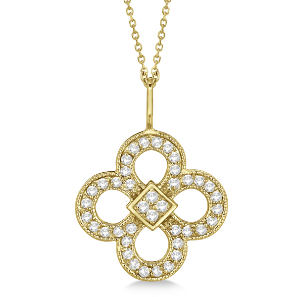 Four Leaf Clover Diamond Pendant Necklace 14K Yellow Gold (0.37ct)