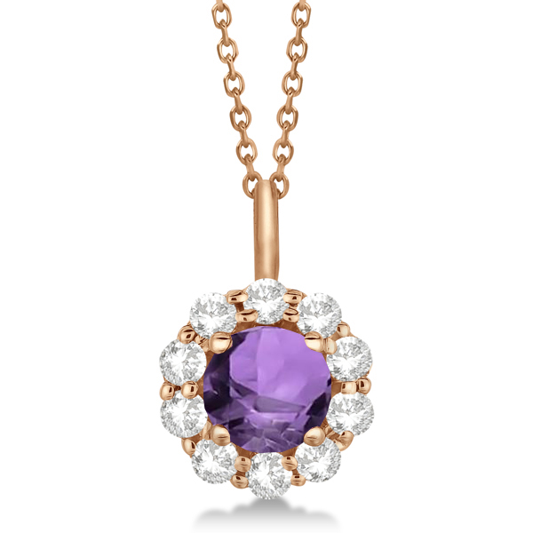 Halo Diamond and Amethyst Lady Di Pendant Necklace 14K Rose Gold (1.69ct)