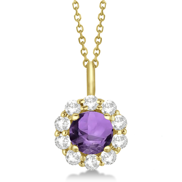 Halo Diamond and Amethyst Lady Di Pendant Necklace 14K Yellow Gold (1.69ct)