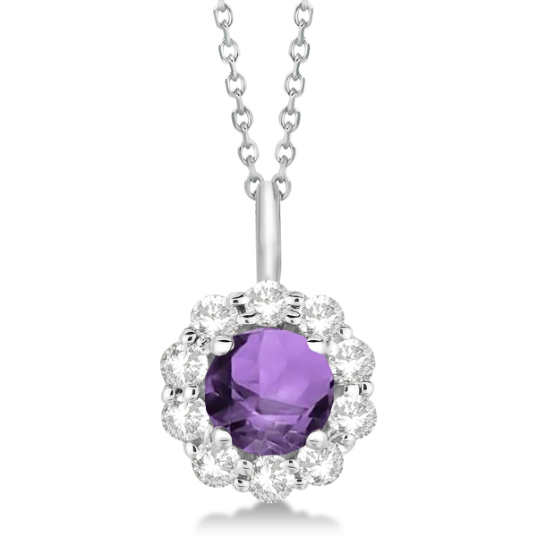 Halo Diamond and Amethyst Lady Di Pendant Necklace 18k White Gold (1.69ct)
