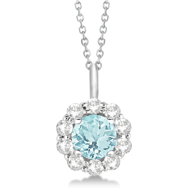 Halo Diamond and Aquamarine Lady Di Pendant Necklace 14K White Gold (1.69ct)