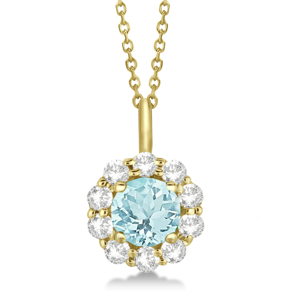 Halo Diamond and Aquamarine Lady Di Pendant Necklace 14K Yellow Gold (1.69ct)