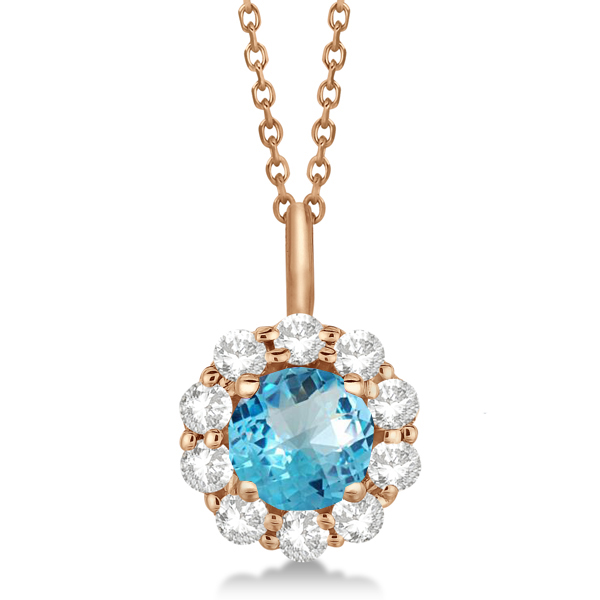 Halo Diamond and Blue Topaz Lady Di Pendant Necklace 14K Rose Gold (1.69ct)