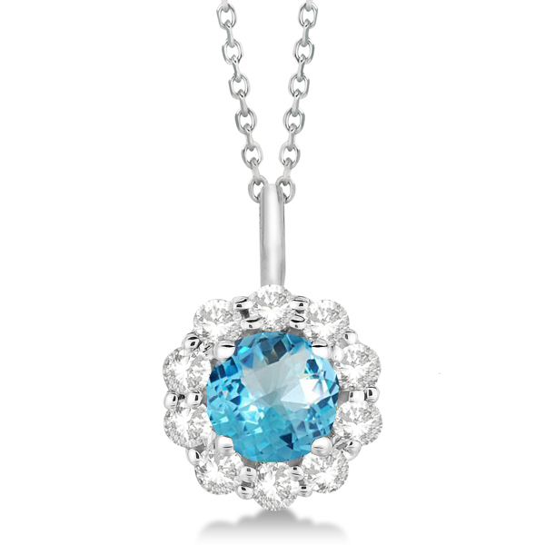 Halo Diamond and Blue Topaz Lady Di Pendant Necklace 18k White Gold (1.69ct)