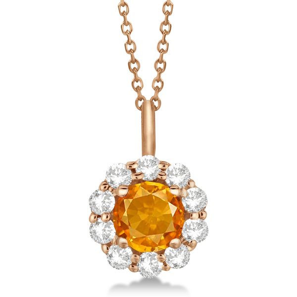 Halo Diamond and Citrine Lady Di Pendant Necklace 14K Rose Gold (1.69ct)