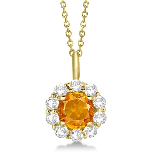 Halo Diamond and Citrine Lady Di Pendant Necklace 14K Yellow Gold (1.69ct)
