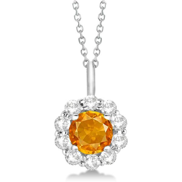 Halo Diamond and Citrine Lady Di Pendant Necklace 18k White Gold (1.69ct)