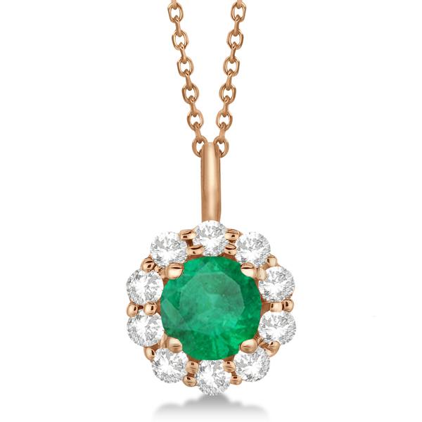 Halo Diamond and Emerald Lady Di Pendant Necklace 14K Rose Gold (1.69ct)