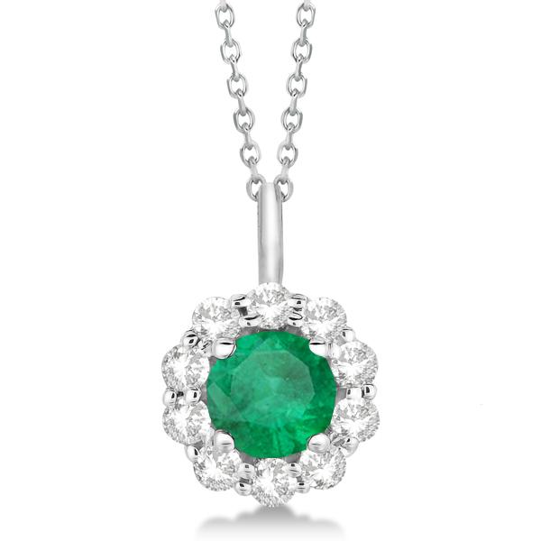 Halo Diamond and Emerald Lady Di Pendant Necklace 14K White Gold (1.69ct)