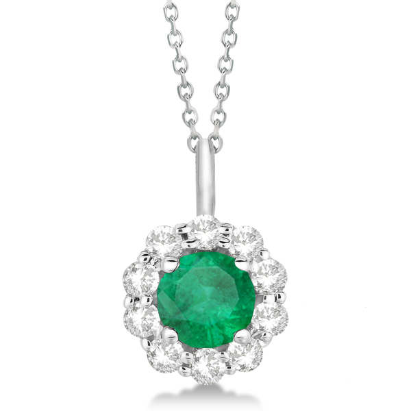 Halo Diamond and Emerald Lady Di Pendant Necklace 18k White Gold (1.69ct)