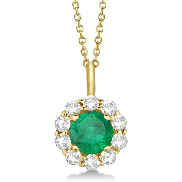 Halo Diamond and Emerald Lady Di Pendant Necklace 18k Yellow Gold (1.69ct)