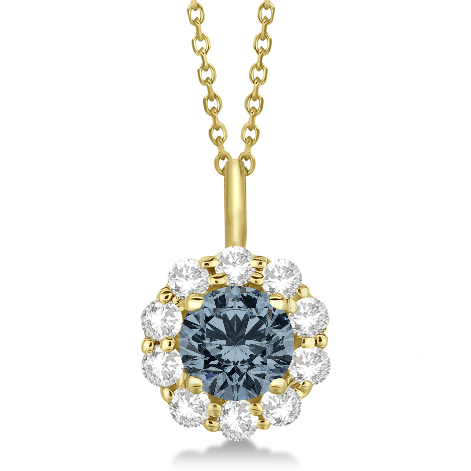 Halo Diamond and Gray Spinel Lady Di Pendant Necklace 18k Yellow Gold (1.69ct)