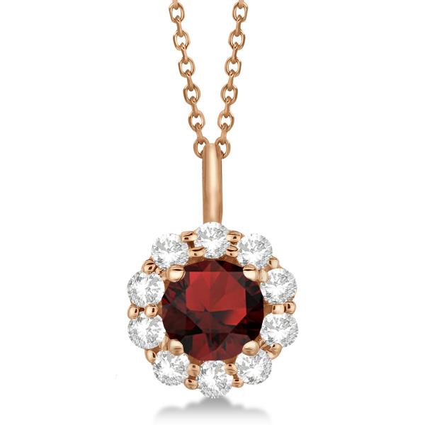 Halo Diamond and Garnet Lady Di Pendant Necklace 18k Rose Gold (1.69ct)