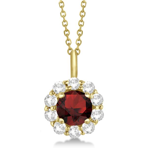 Halo Diamond and Garnet Lady Di Pendant Necklace 18k Yellow Gold (1.69ct)