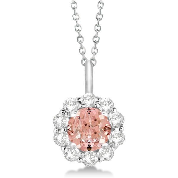 Halo Diamond and Morganite Lady Di Pendant Necklace 14K White Gold (1.69ct)