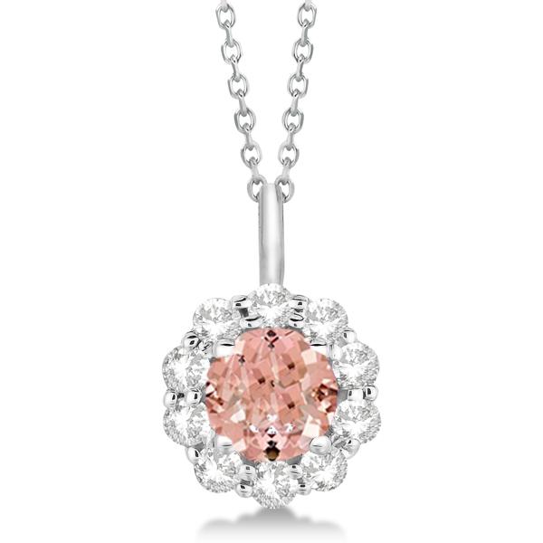 Halo Diamond and Morganite Lady Di Pendant Necklace 18k White Gold (1.69ct)
