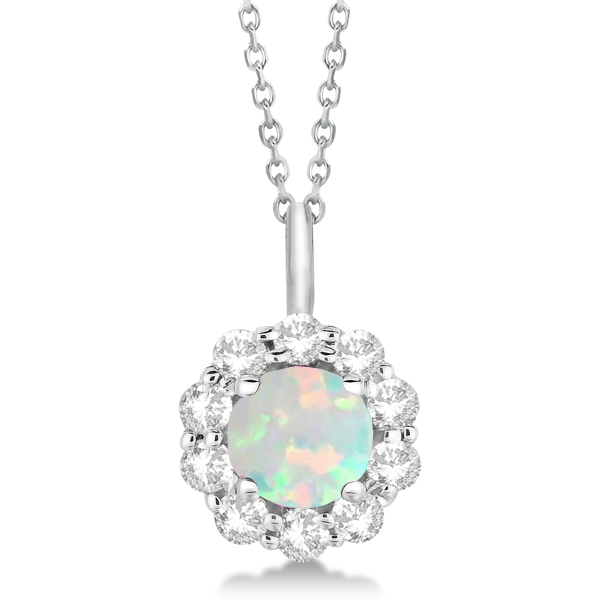 Halo Diamond and Opal Lady Di Pendant Necklace 14K White Gold (1.69ct)