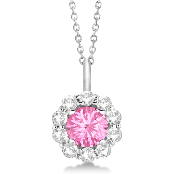 Halo Diamond and Pink Tourmaline Lady Di Pendant Necklace 18k White Gold (1.69ct)