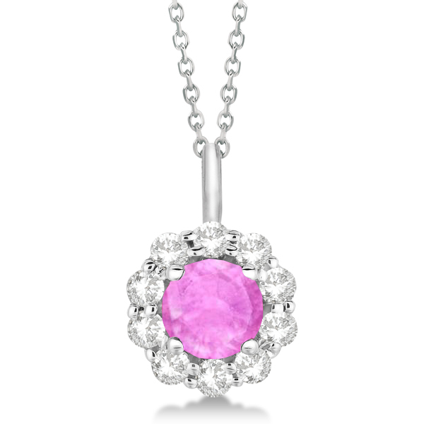 Halo Diamond and Pink Sapphire Lady Di Pendant Necklace 14K White Gold (1.69ct)
